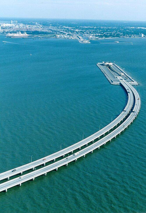 This bridge is half under the water, for ships to pass and then again, it comes out on the other side. Truly a marvelous piece of engineering!  This bridge is between Sweden and Denmark ... Picture taken from the side of Sweden.