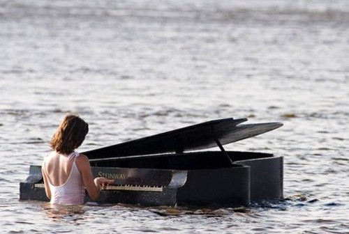 Piano still plays, even if it is a little wet