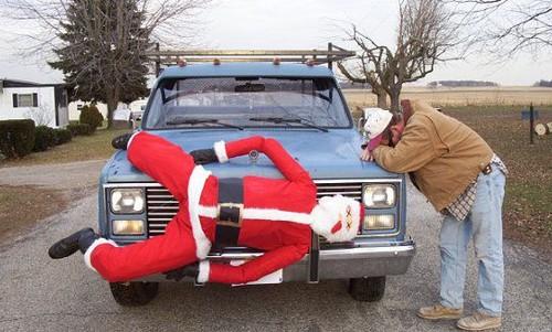 Daddy hit Santa